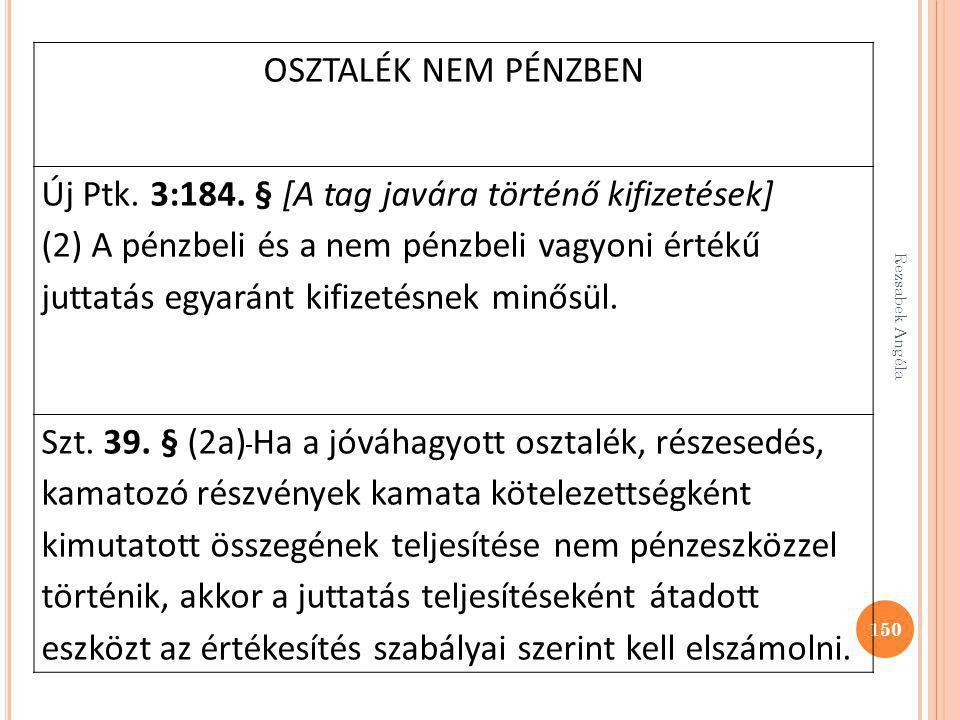 Új Ptk. 3:184. § [A tag javára történő kifizetések]